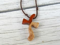Wooden Cross Necklace - Sycamore & African Paduak
