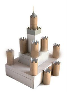 "Fun kid craft, then use as party decoration - or get the kids at the party to decorate it and ""build"" the castle"