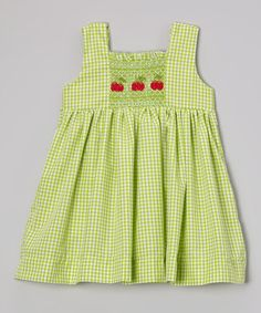 Another great find on #zulily! Green Gingham Cherry Smocked Dress - Infant, Toddler & Girls #zulilyfinds