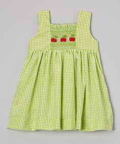 Look what I found on #zulily! Green Gingham Cherry Smocked Dress - Infant, Toddler & Girls by Fantaisie Kids #zulilyfinds