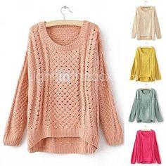 [BRL R$ 53,91] Mulheres oco em torno do pescoço de malha irregular Bordado Jumper Sweater