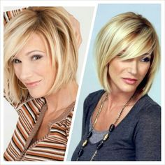 Paula White's Chin length blonde bob with side bangs