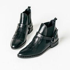 Black calf leather with studded welt Chelsea ankle boot with removable kiltie 100% Leather upper and leather sole with rubber reinforcement with padded footbed Heel height: 1.25 inches Handmade in Spa