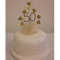 CAKE DECORATION GOLDEN 50th WEDDING ANNIVERSARY DIAMANTE CAKE TOPPER HEART