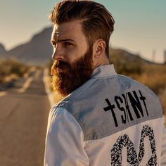 Levi Stocke - full thick dark red beard and mustache beards bearded man men mens' style fashion clothes model hairstyle hair cut ginger redhead handsome #goodhair #beardsforever