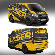 Eye catching visually stunning vehicle wrap for Laser Ltd Sheet metal laser cutting and fabrication services selling to other businesses and the general public. Van Signwriting, Van Signage, Vehicle Signage, Vehicle Branding, Van Design, Logo Design, Van Wrap, Vans Logo, Cool Vans