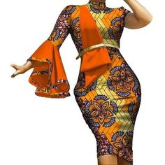 Fashion Vestidos Ruffles Sleeve Draped Straight Dress Bazin Riche African Print Dresses for Women African Design Clothing African Dresses Online, Short African Dresses, Latest African Fashion Dresses, African Print Dresses, African American Fashion, African Inspired Fashion, African Print Fashion, African Wedding Attire, African Attire