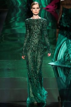 Emerald elegance at Monique Lhuillier
