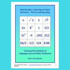 Real Numbers Following Directions - Math Vocabulary – Good Sensory Learning - This compilation of 5 engaging, fun activities helps to develop and strengthen students' language processing skills as well as their understanding of math vocabulary including the real numbers.  #realnumbers #realnumbersactivities Real Numbers, Math Vocabulary, Math Strategies, Emotional Regulation, Following Directions, Executive Functioning, Educational Games, Dyslexia, Emotional Intelligence