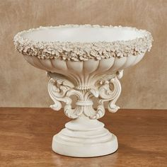 The Cantrelle Decorative Centerpiece Bowl showcases elegant design motifs including a rim of flowers, fluted designs, and a stylized fleur font. Greenery Centerpiece, White Centerpiece, Table Centerpieces, Clock Decor, Tray Decor, Decorative Items, Decorative Bowls, House Lift, Modern Baroque
