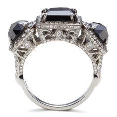 Astarte six carat black diamond platinum unique bridal engagement ring – Anna Sheffield