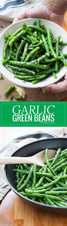 Garlic Green Beans is one of my favorite side dish recipes! It's easy to make and pretty healthy with Crispy Green Beans sauteed in a skillet. Fresh parley adds a great, herbaceous brightness with a little bit of butter and garlic. This is special enough food for Thanksgiving or any other holiday meal and also great in a pinch on a busy weeknight! #Vegetarianrecipesforalltastes