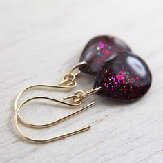 winter berry sparkly earrings on 14k gold fill by tinygalaxies
