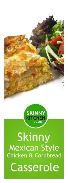 Skinny Mexican Style Chicken and Cornbread Casserole. It's a cinch to make and freezes great! Each serving has 323 calories, 8g fat & 11 Weight Watchers SmartPoints. http://www.skinnykitchen.com/recipes/skinny-mexican-style-chicken-and-cornbread-casserole/