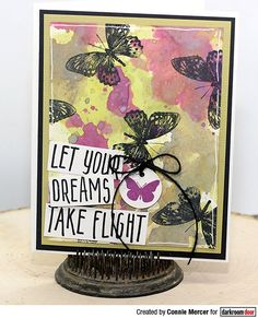 Card by Connie Mercer using Darkroom Door Take Flight Small Stamp and Wings Stamp Set with Distress Oxide inks. 2017 Decor, Red Geraniums, Distress Oxide Ink, Word Art, Altered Art, Hand Stamped, Dreaming Of You, Goodies, Card Making