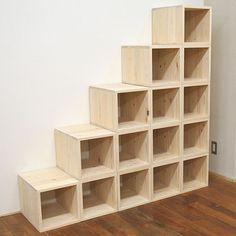 ひのきボックス式階段 オープンボックス 1703017 | オーダーベッド製作実績・ロフトベッド・二段ベッド 【マイスター・マトバ】