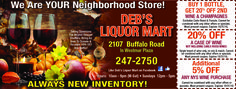 Deb's Liquor Mart with Fall deals on your wine and liquor purchase! Rochester, NY Valpak coupon