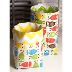Wastebasket car trash can collapsible use anywhere crafting thread catcher laminated cotton waterproof WASTIE Bright Owls on Etsy, $19.95