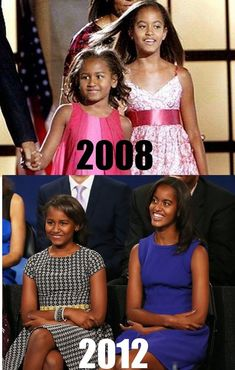 Sasha and Malia. The evolution of the Obama girls. Michelle Obama, Barack Obama Family, Malia Obama, Obamas Family, Obama Daughter, First Daughter, Black Presidents, American Presidents, Joe Biden