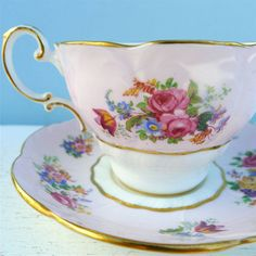 Vintage Paragon Pink Floral Spray Tea Cup and by twolittleowls, $29.00
