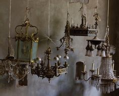 """antique lighting fixture collection photographed for hollister and porter hovey's book """"heirloom modern"""" Antique Light Fixtures, Antique Lighting, Chandelier Lighting, Chandeliers, Modern Magic, House On A Hill, Decoration, Lanterns, Ceiling Lights"""
