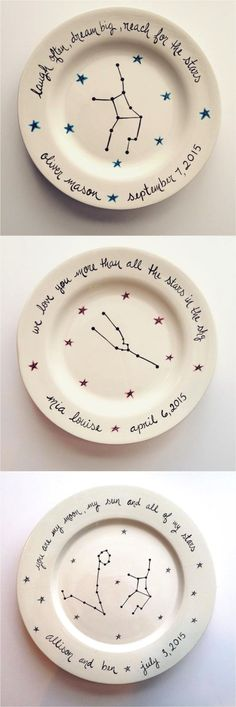 Commemorate your little one with a beautiful hand-painted astrological plate. A lovely gift for a newborn, a baptism, or a 1st, 2nd, or 3rd birthday. Perfect as a little something from godparents. | Made by people who care on Hatch.co