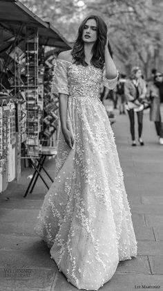 liz martinez 2018 bridal off the shoulder straight across neckline full embellishment romantic soft a  line wedding dress sweep train (7) mv -- Liz Martinez 2018 Wedding Dresses