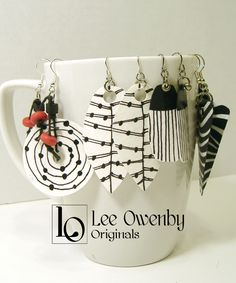 Art by Lee Owenby, noted for acrylics, watercolors, ink drawings, word art and handmade jewelry. Paper Bead Jewelry, Paper Earrings, Funky Jewelry, Fabric Jewelry, Enamel Jewelry, Paper Beads, Polymer Clay Earrings, Sea Glass Jewelry, Wire Jewelry