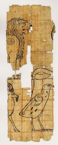 Fragment de papyrus : animaux dans un quadrillage; 1479-1069 av JC. L'art du contour - Le dessin dans l'Égypte ancienne.