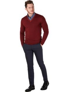 #Preppystyle 100% extrafine merino wool sweater red for man Exibit