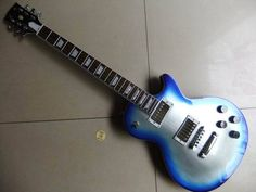 New lp standar electric guitar silver burst with blue side chrome hardware 110427