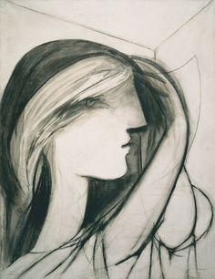 Pablo Picasso, Head of a Woman, Right Profile (Marie-Thérèse) (Tête de femme, profil droit [Marie-Thérèse]), Boisgeloup, July 19, 1934. Oil and charcoal on canvas, 64.8 x 49.5 cm. Collection of Aaron I. Fleischman.