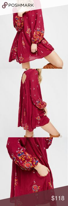 SALE! Free People Embroidered Tunic Dress NWT SZ M. Embroidered design over a lined tunic with pockets. Great over leggings too. Oversized. Color is plum. Also available in red in separate listing. Free People Dresses Mini