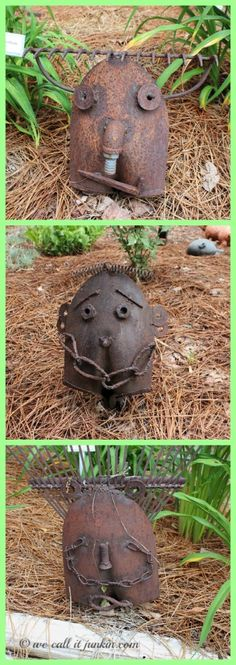 garden face art made from shovels & rakes. Part 3 of 4 of a daylily garden that has been cultivated for forty years by talented lady, including other plants and garden art.