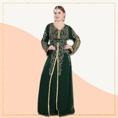 Bottle Green Abaya Dress with hand embellished multicoloured sequins. This chic outfit with a matching belt is perfect for wedding functions and parties! Product no: 8613 Modest Dresses, Modest Outfits, Chic Outfits, Kaftan Abaya, Caftan Dress, Abaya Fashion, Wedding Gowns, Sequins, Parties