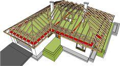 Projekt domu Marcel G2 128,96 m2 - koszt budowy 254 tys. zł - EXTRADOM House Roof Design, Roof Truss Design, Small Cabin Plans, Villa Plan, House Construction Plan, Rooftop Design, 4 Bedroom House Plans, Roof Trusses, Roof Lines