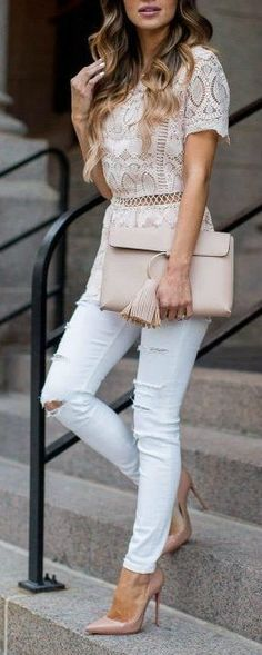 I love lacy knit tops especially when it's white or very, very light colored. Send them over