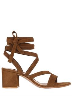 GIANVITO ROSSI - 60MM LACE UP SUEDE SANDALS