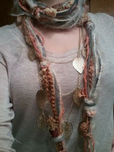 yarn scarf - made several of these in red, black, gray & white for Christmas gifts