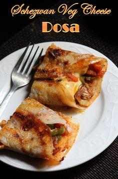 YUMMY TUMMY: Schezwan Vegetable Cheese Dosa Recipe / Schezwan Veg Dosa Recipe
