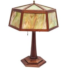 Arts & Crafts Slag Glass Lamp | From a unique collection of antique and modern table lamps at http://www.1stdibs.com/lighting/table-lamps/