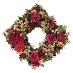 Our Zinnia Blush Wreath will delight any room as this is filled with natural preserved zinnia's, rice flower, phalaris, globe, pink larkspur and natural leaves. Large Flowers, Faux Flowers, Dried Flowers, Hard Crafts, Square Wreath, Zinnias, Summer Wreath, How To Make Wreaths, Christmas Wreaths