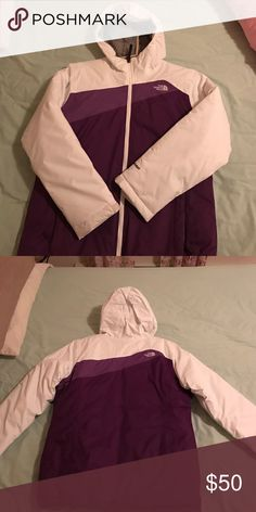 Girls North Face jacket. Purple and white. Only worn if 3 times. Girls size x- large size 18. Great condition. Like new North Face Jackets & Coats
