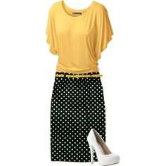 A fashion look from January 2015 featuring yellow shirt, pencil skirt and white pumps. Browse and shop related looks.