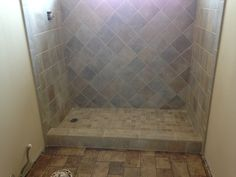 Walk In Tiled Shower To Replace Fibergl Tub For Upstairs Bath Nice Colors And Pattern