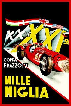 Mille Miglia XXI by GarageFabro on Etsy #millemiglia #mille #ferrari #alfa #romeo #lancia #fiat #italy #race #racing #vintage #poster #art #ad #print #car Grand Prix, Ferrari, Maserati, Automobile, Poster Art, Garage Art, Car Posters, Vintage Race Car, Automotive Art