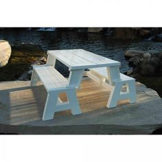 Table Bench Outdoor Convert Garden Furniture Yard Dining Seat Relax White Wood #Relax #Modern