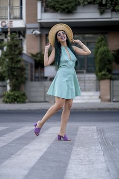 Summer Asos dress with bozikis purple lavender mules and a straw hat. Mental Break, Asos Dress, Marry Me, Youtubers, Lavender, Hat, Photo And Video, Purple, Summer