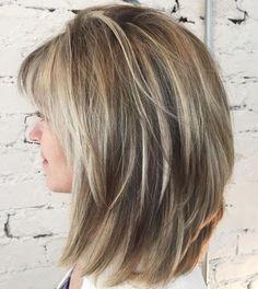 Lob with V-Cut Layers and Bangs Medium Shaggy Hairstyles, Medium Layered Haircuts, Haircuts For Long Hair, Medium Hair Cuts, Hairstyles Haircuts, Medium Hair Styles, Curly Hair Styles, Layered Hairstyles, Haircut Medium
