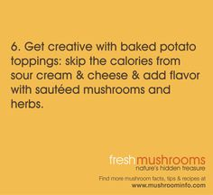 Celebrate Day 6 of National Mushroom Month by trying mushrooms on a baked potato! #WFD2012 #IAmVegetable